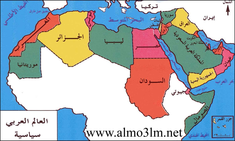 خريطة العالم العربي الجغرافية السياسية المناخية التضاريس ملونة وصماء Arab World How Many Countries Map