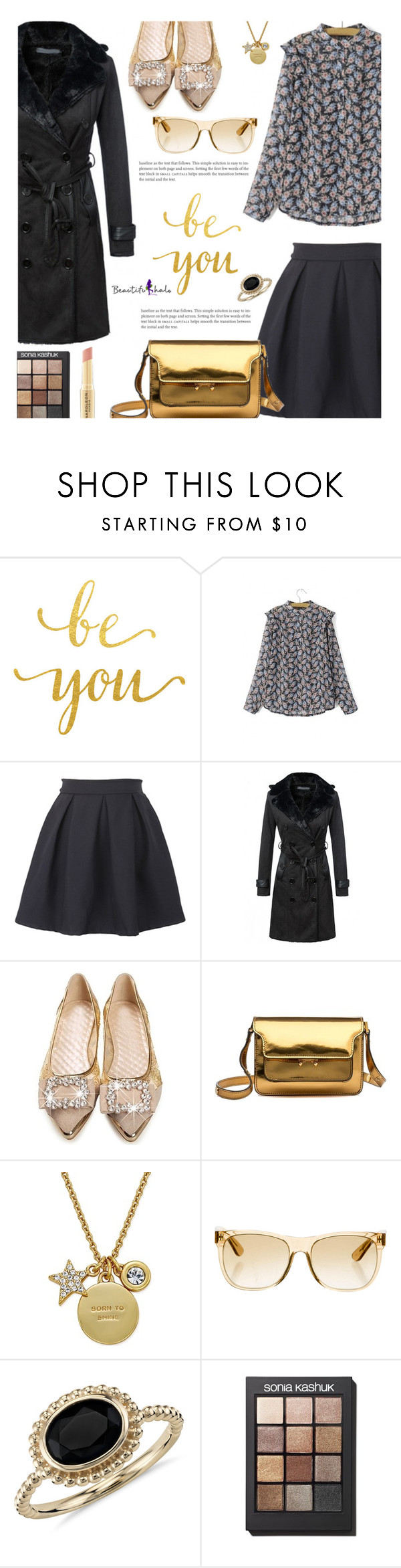 """""""Beautifulhalo.com: Be you!"""" by hamaly ❤ liked on Polyvore featuring Marni, Kate Spade, RetroSuperFuture, Blue Nile, Sonia Kashuk, Napoleon Perdis, shoes, ootd, skirts and coats"""