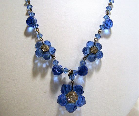 Fused Glass Pendant with a blue flower and beaded necklace