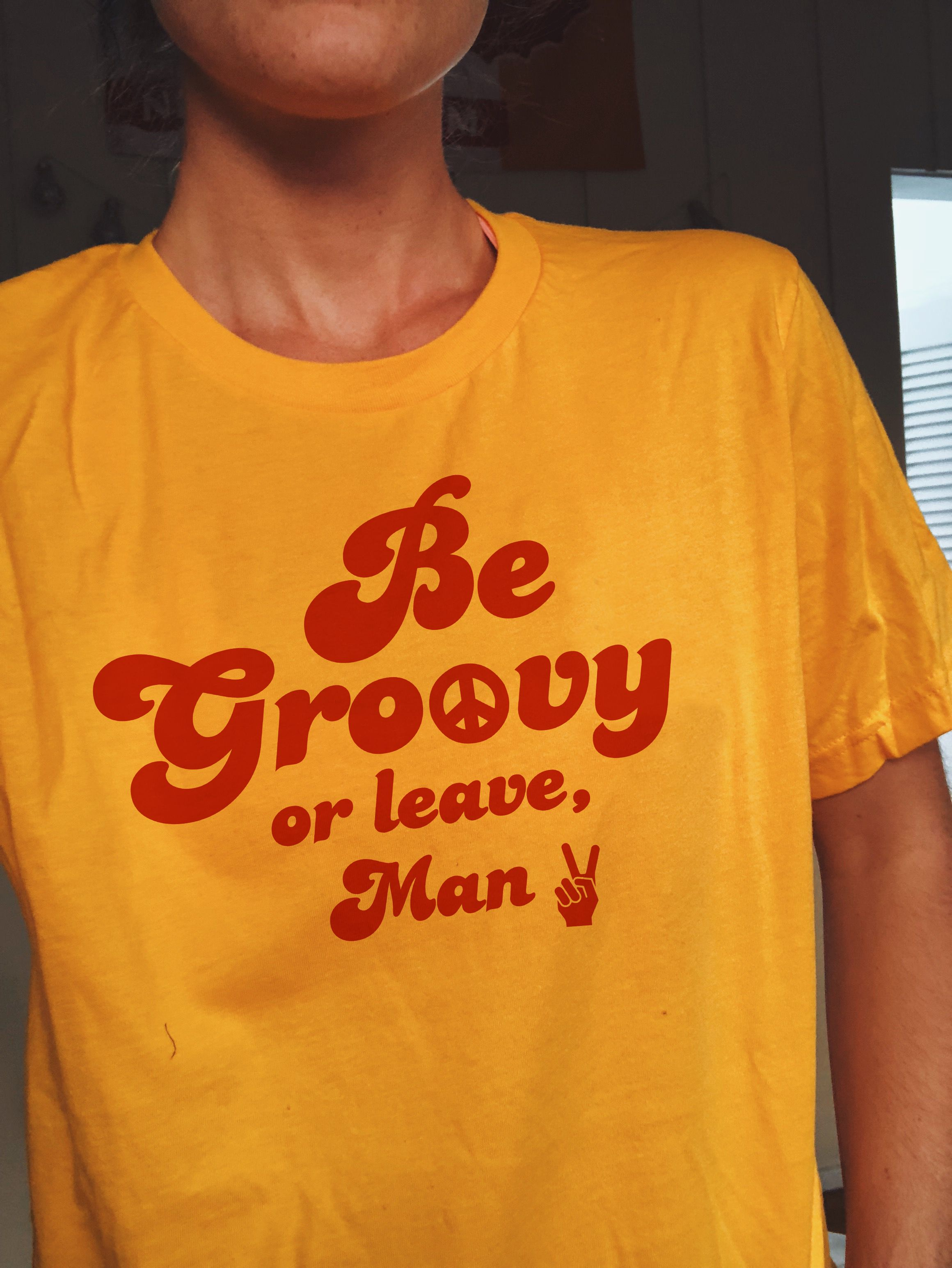 c4835d60 Be groovy or leave man retro yellow graphic t-shirt #graphictee #retro #