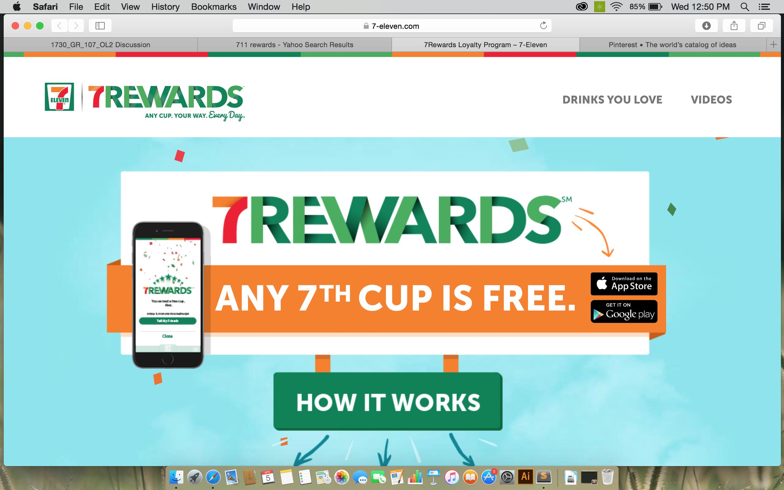 711 rewards program Free rewards, App, Drinks