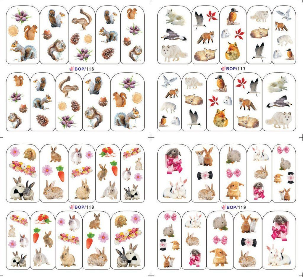 KADS Animals Squirrel Fox and Rabbit Water Nail Art Stickers - 1 ...