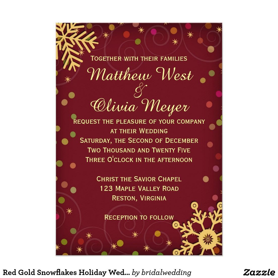 Red Gold Snowflakes Holiday Wedding Invitation | Red gold, Wedding ...