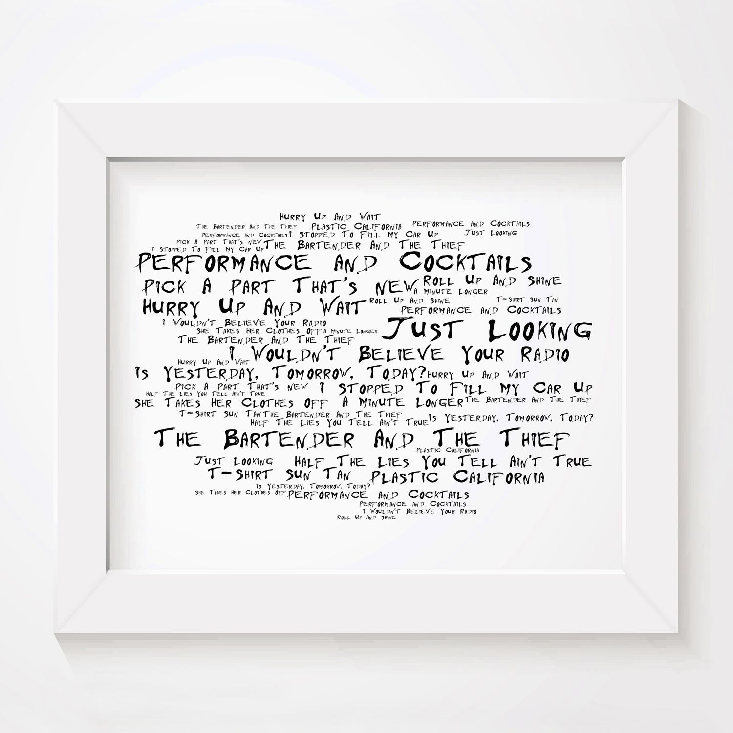 Stereophonics Performance And Cocktails limited edition typography lyrics art print, signed and numbered wall art poster available from www.lissomeartstudio.com