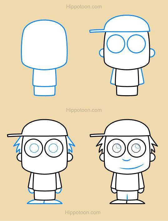 Simple Drawing Lesson On How To Draw A Cartoon Boy Art School For