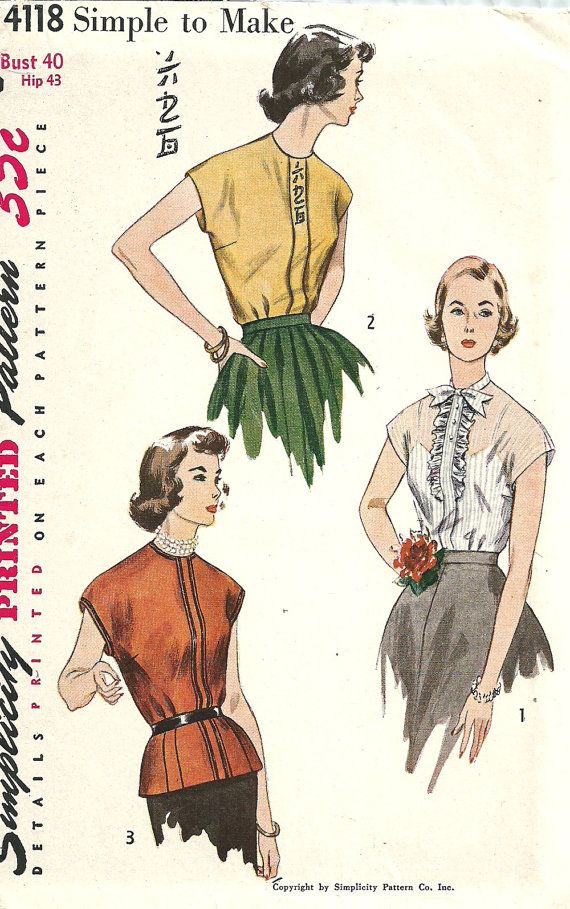 Simplicity 4118 / Vintage 50s Sewing Pattern / Blouse / Bust 40
