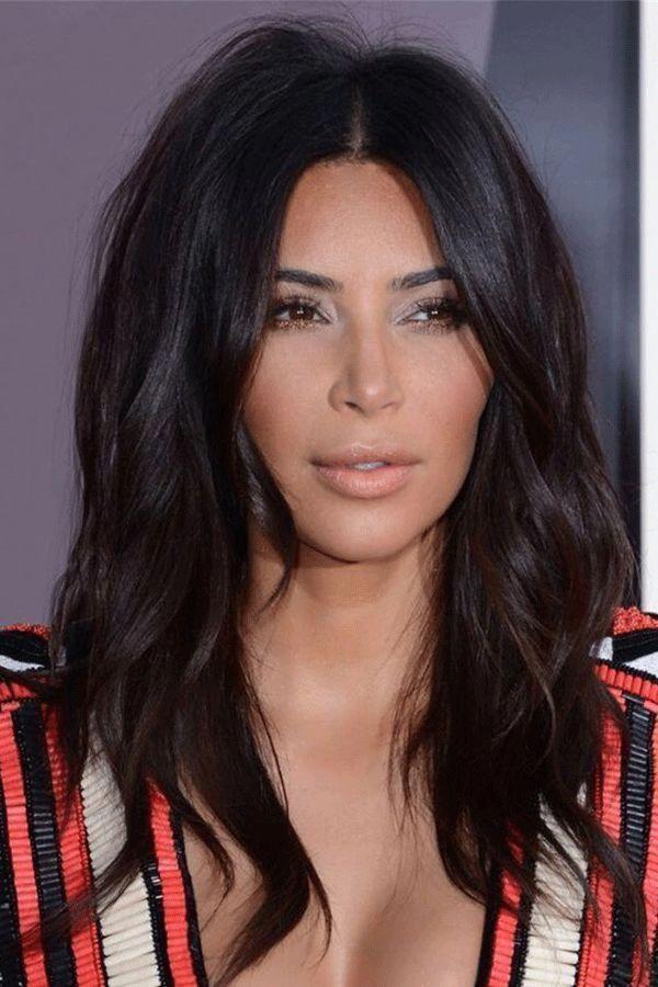 kim kardashian Hairstyle Long Wavy Middle Parted Human ...