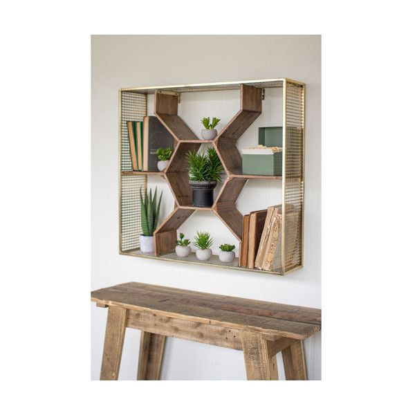 Kalalou Wooden Honey Comb Shelf 238 Liked On Polyvore Featuring Home Home Decor Small Item Storage Home Wall Decor Woo Decor Shelves Honeycomb Shelves