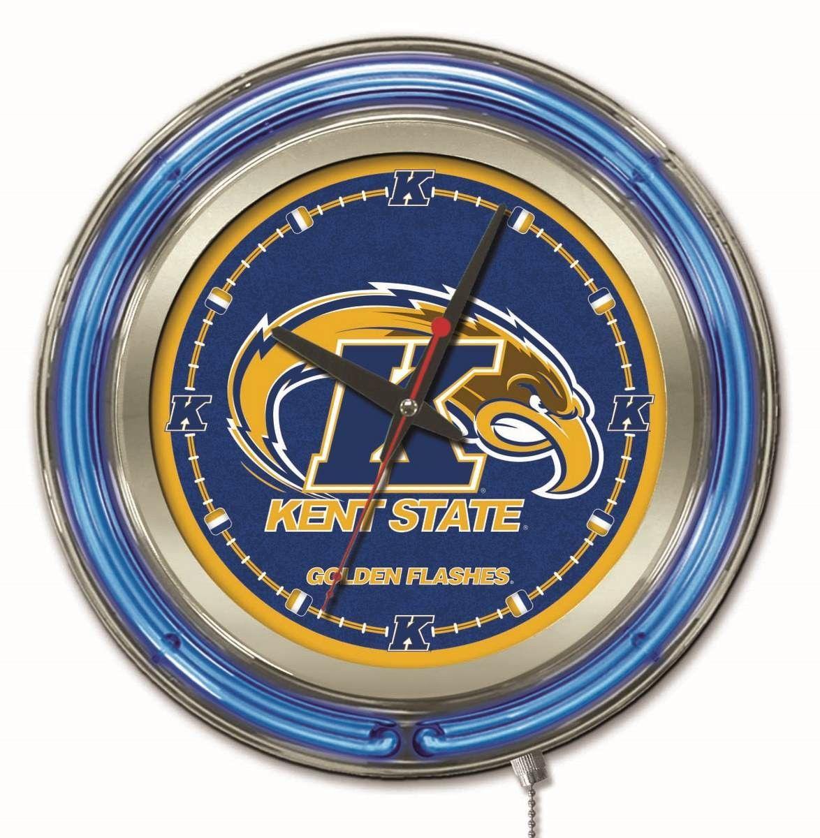 "Clock 15"" Dia. Kent State University Neon clock, Logo"