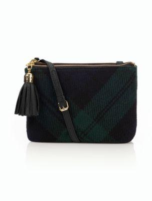 Talbots - Large Blackwatch Plaid Tassel Cross-body Bag | Handbags |