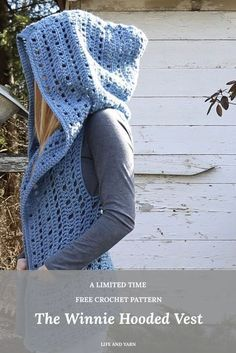Winnie Hooded Vest Free Crochet Pattern For Beginners #crochetpatterns