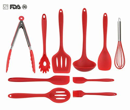 Silicone Kitchen Utensils Set By Videotorg Non Stick Cooking Heat Resistant Baking Spatula Hygienic Antibacterial Safety Health Kithcen
