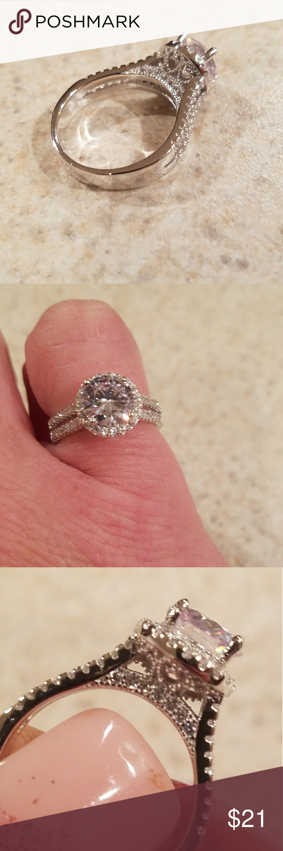 New White Diamonique Wedding Ring Size 6 Boutique | Pinterest