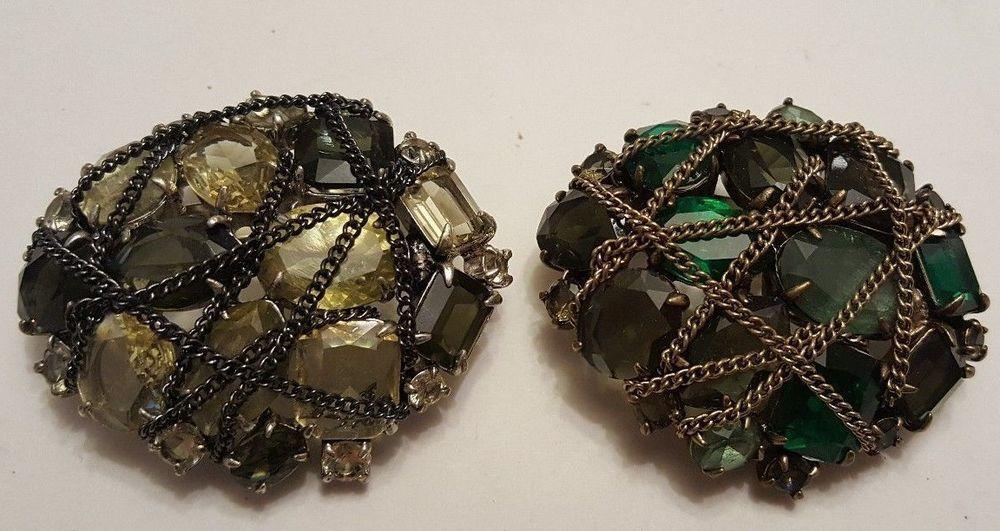 "2 Stella & Dot ""After the Rain"" RHINESTONE Brooch Pendant #StellaDot #ebay #rhinestone #jewelry #brooch"