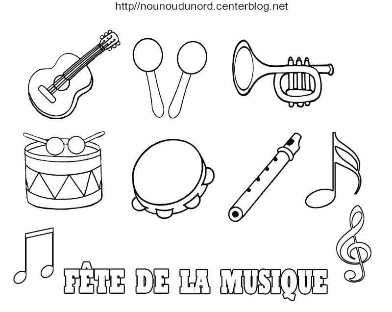 Coloriage Fete De La Musique Coloriage Musique Coloriage Instrument De Musique Fete De La Musique