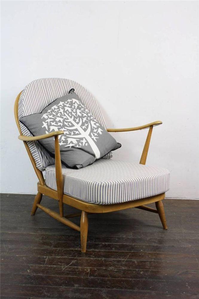 Ercol Windsor Arm Chair Refurb D Blonde Ticking Retro Vintage 578c In Antiques Antique Furniture Chairs Ebay Ercol Furniture Ercol Retro Armchair