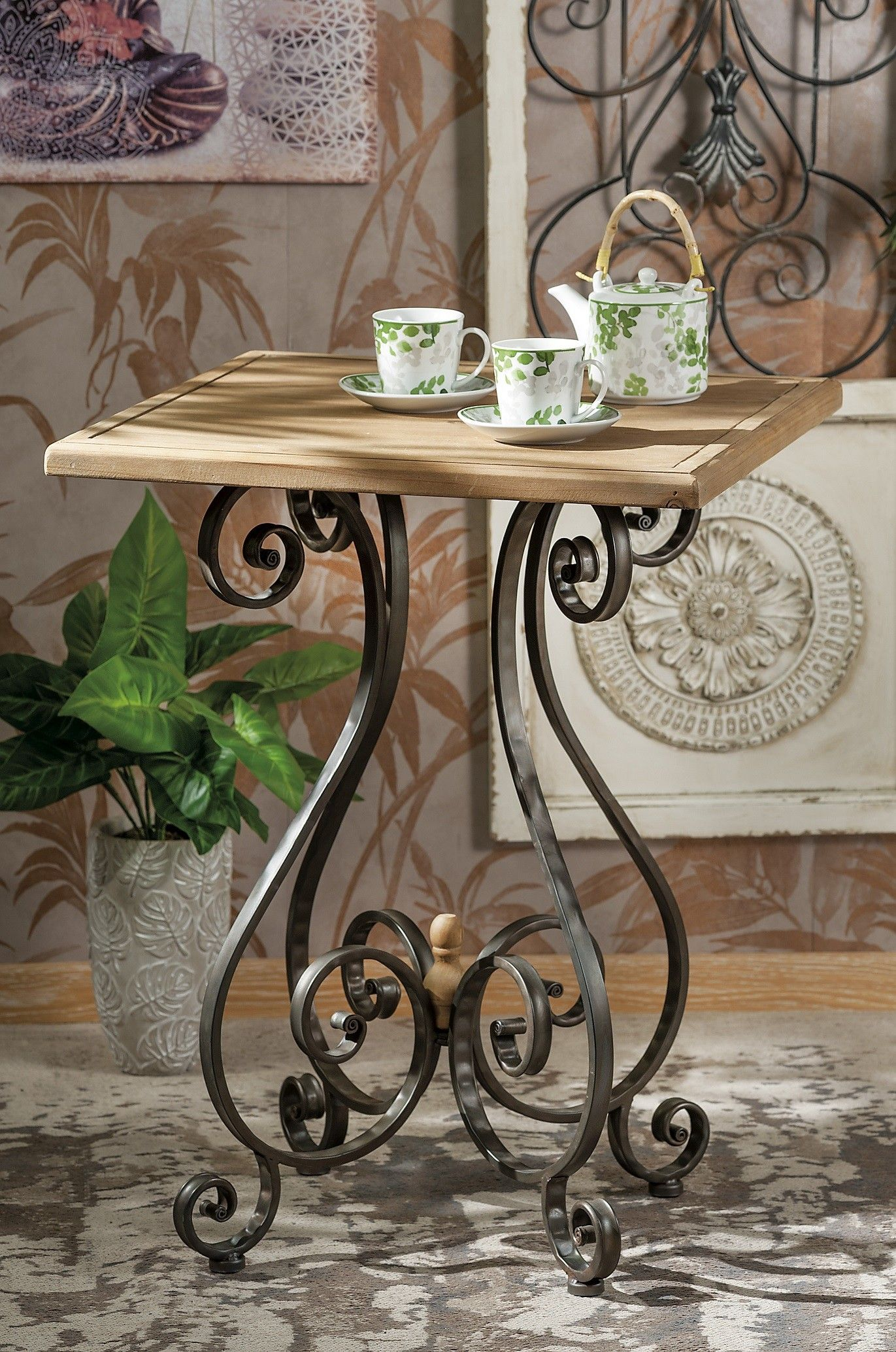 Tavolo Quadrato Arte Povera.Tavolino Quadrato In Legno E Metallo Bar Nuovo Art 51724 Consegna
