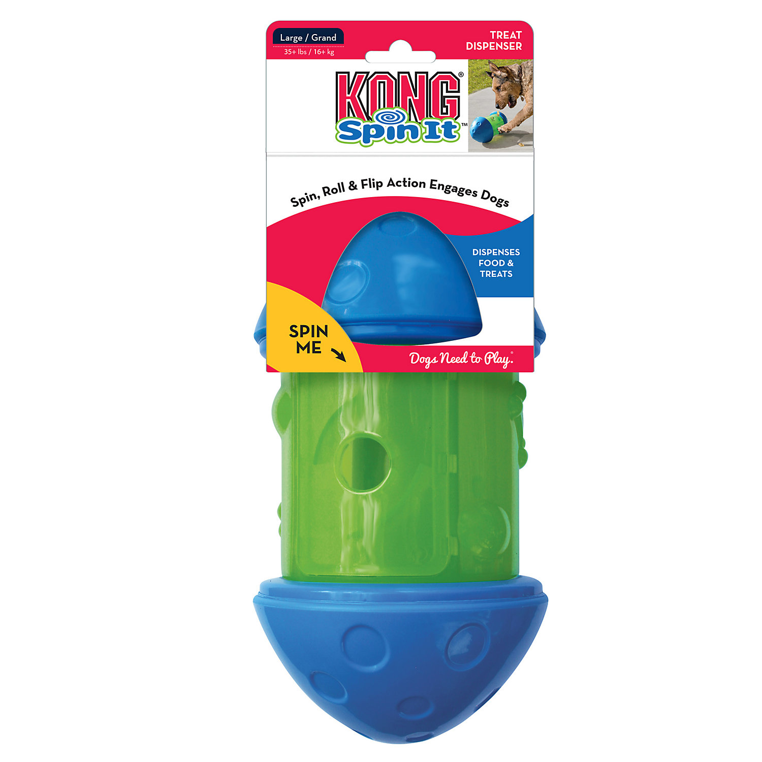 Kong Spin It Treat Dog Toys Small Green Blue Interactive Dog