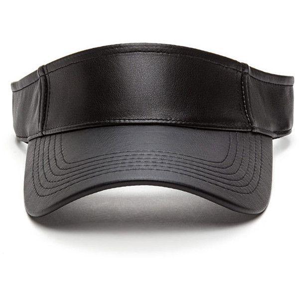BLACK Sun Goddess Faux Leather Visor (£4.51) ❤ liked on Polyvore featuring accessories, hats, black, sun visor hat, velcro hat, visor hats, adjustable hats and sun visor