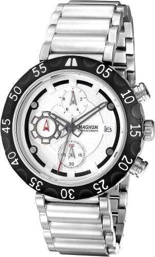 4ef700243e1 Relógio Cronógrafo Masculino Magnum MA32541Q Relógio Masculino com pulseira  de aço inox Mostrador branco com catraca