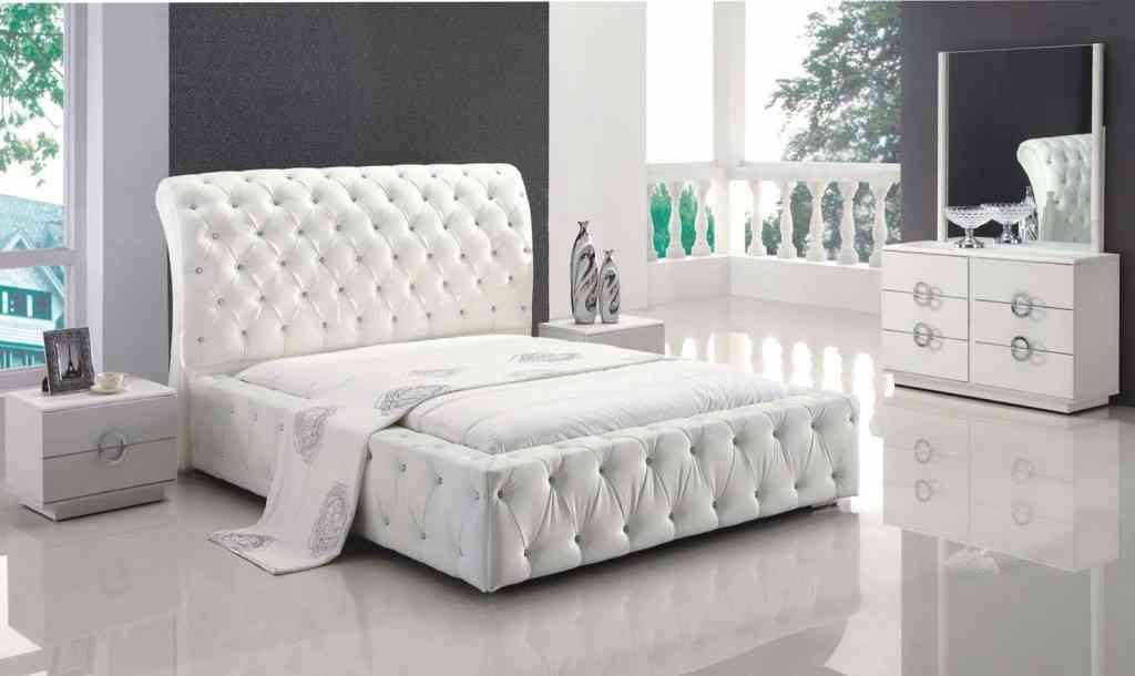 White Leather Bedroom Set | White Bedroom Set | White upholstered ...