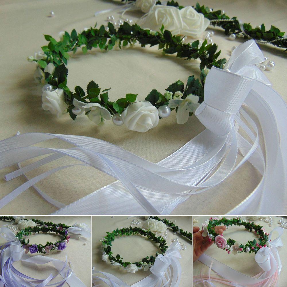 Haarkranz Blumenkind Hochzeit Kopfschmuck Blutenkranz Mit Schleife