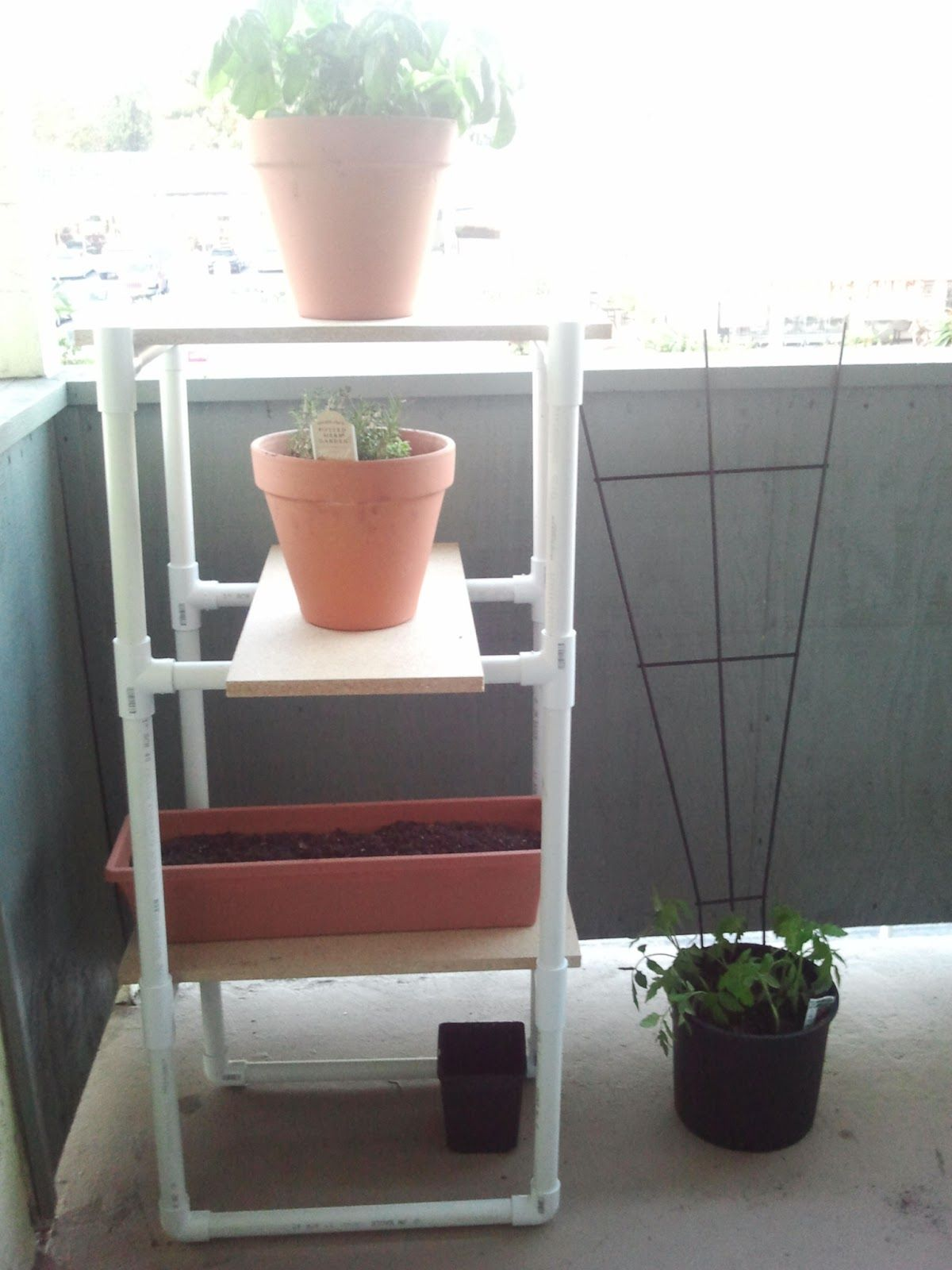Knot For Thought   DIY Patio Shelves Using PVC Pipe And Plywood. Costs $35  Including