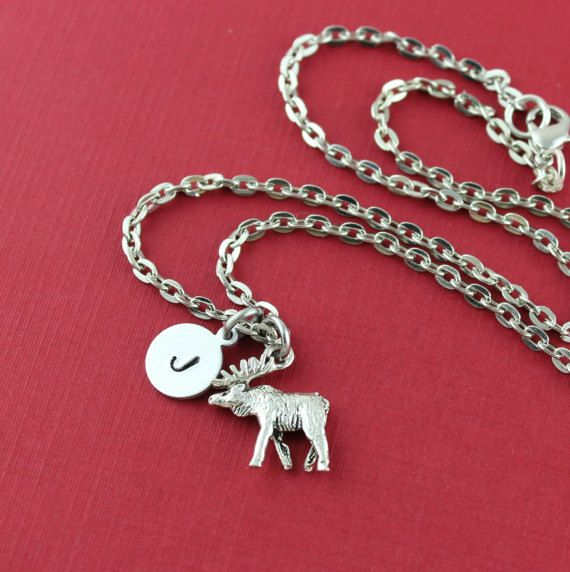 Silver Plated Initial And Moose Necklacec  by SweetRideAccessories