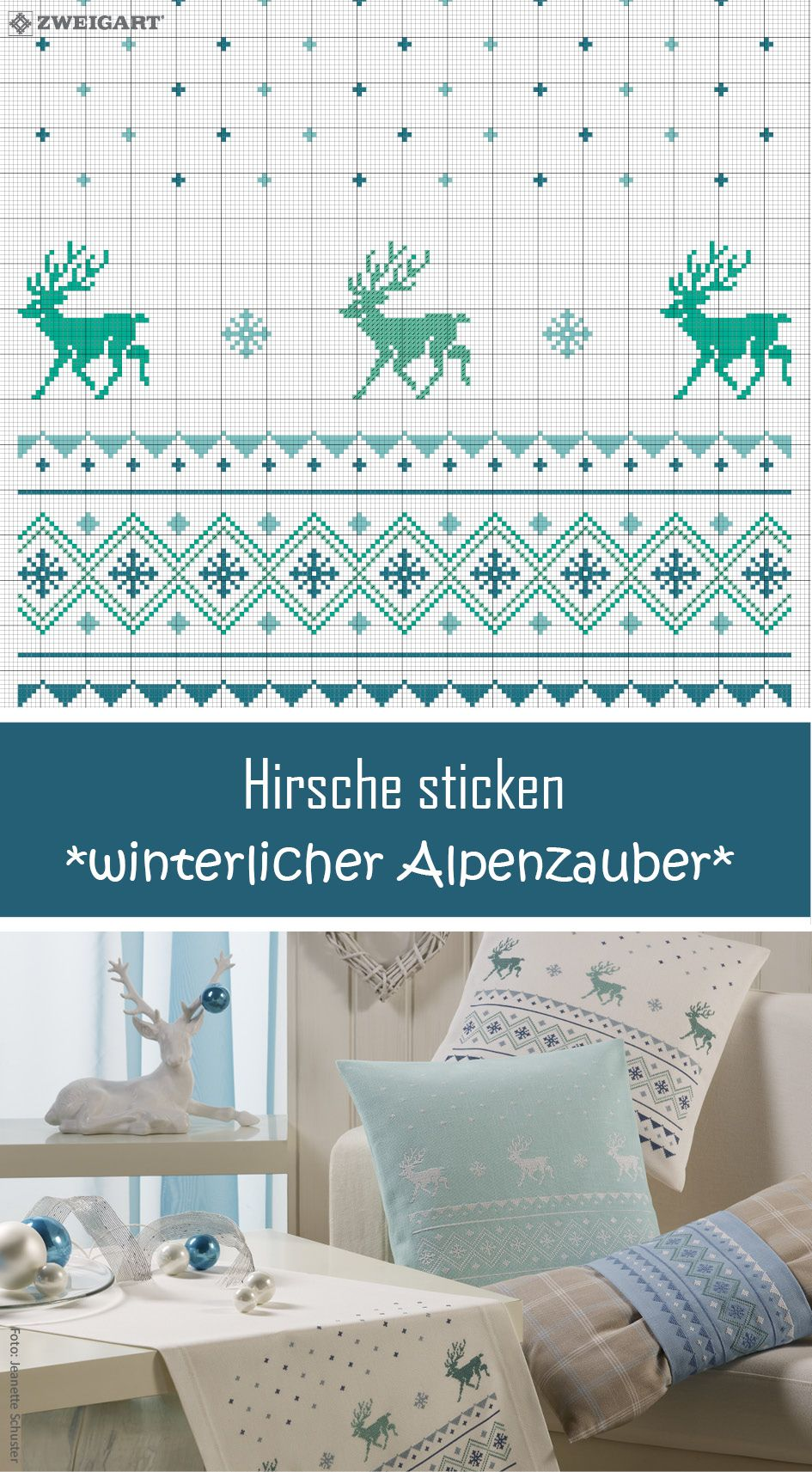 Hirsche im weihnachtlichen Alpenstil sticken - Entdecke zahlreiche ...