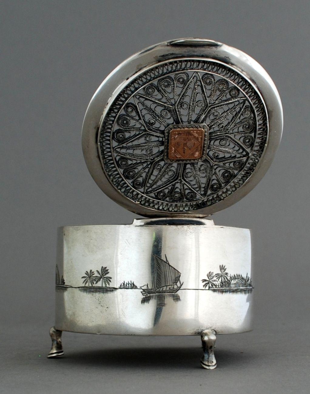 Rare Antique Iraqi Solid Silver Niello, Filigree & 22 ct Gold Box; c1930