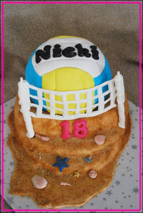 Beach Volleyball Cake All Edible Sports Themed Cakes Volleyball Cakes Themed Cakes