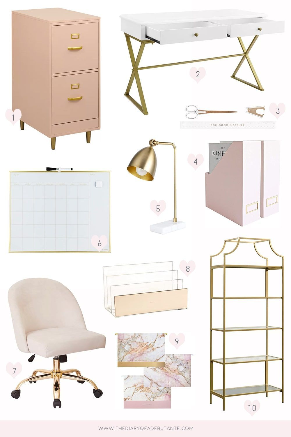 Affordable Pink and Gold Office Decor | Diary of a Debutante