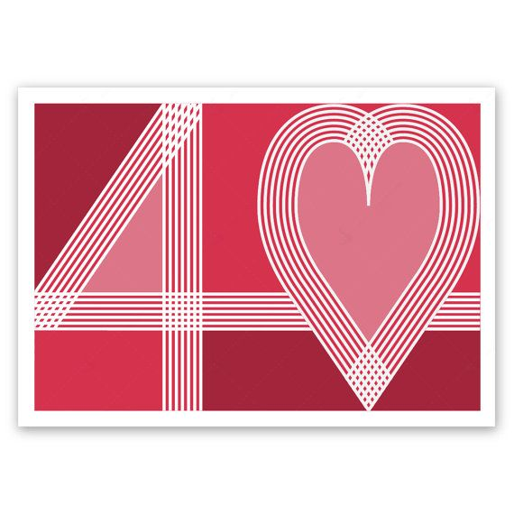 Ruby 40th Wedding Anniversary Card Handmade 40 Heart Typography Red Blank Or Optional Personalised Message Inside For Husband Wife