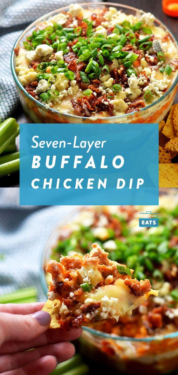 7-Layer Buffalo Chicken Dip #buffalochickendip