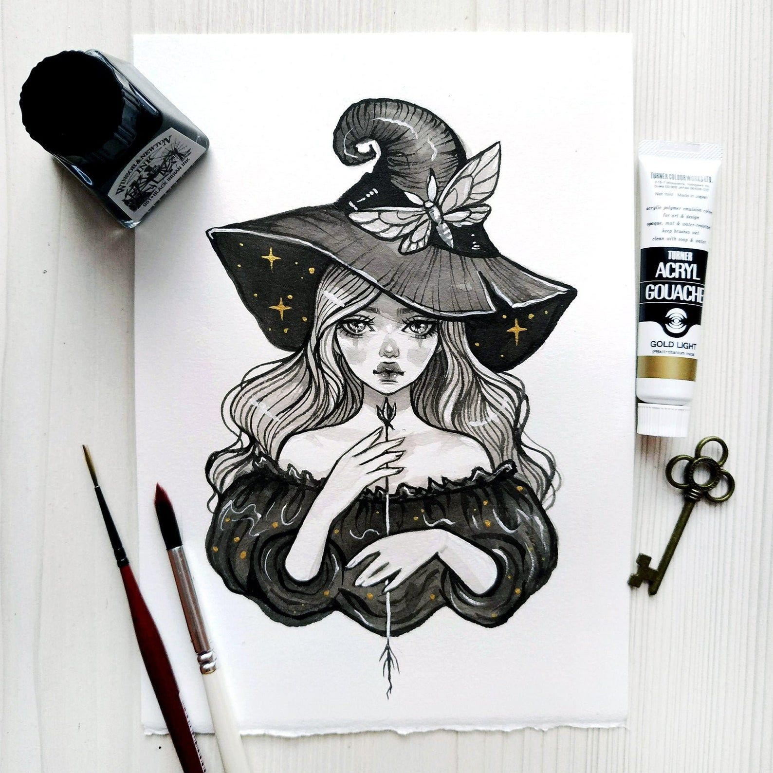Items similar to Lady Witch. Original ink art. on