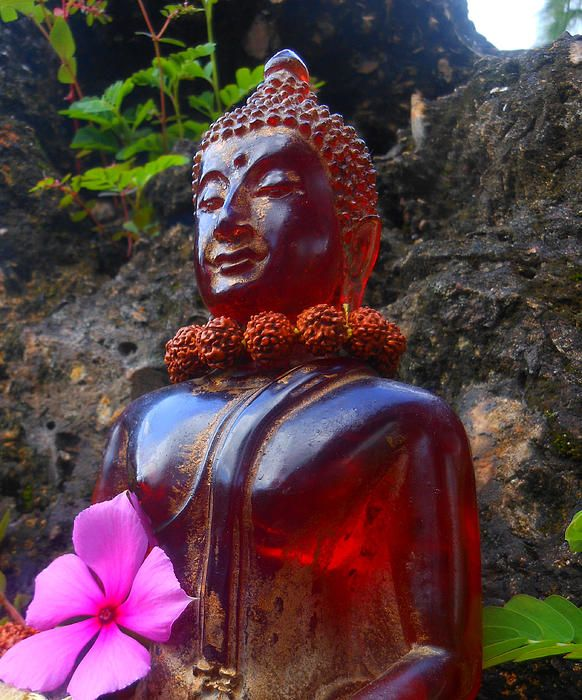 Buddha picked flowers on vacation - Sherry Dooley