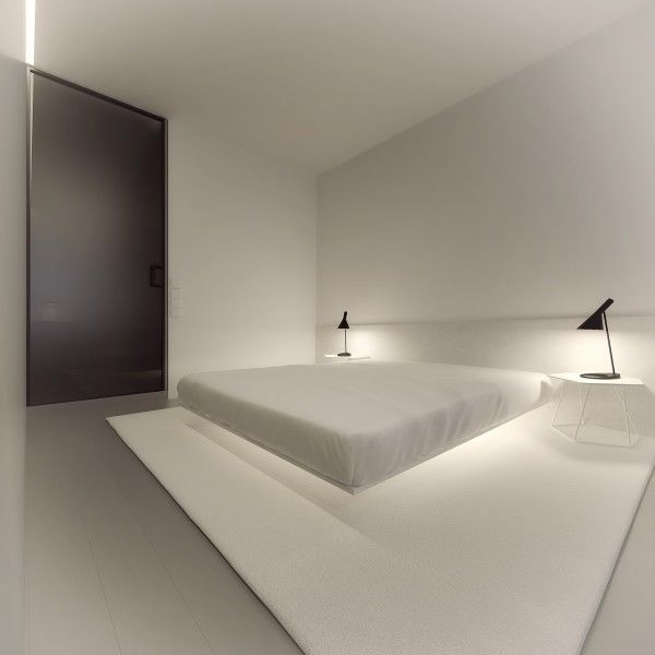 sharp groovy white bedroom inspiration furniture | Stark, Sharp & Minimalistic Interiors By Oporski ...