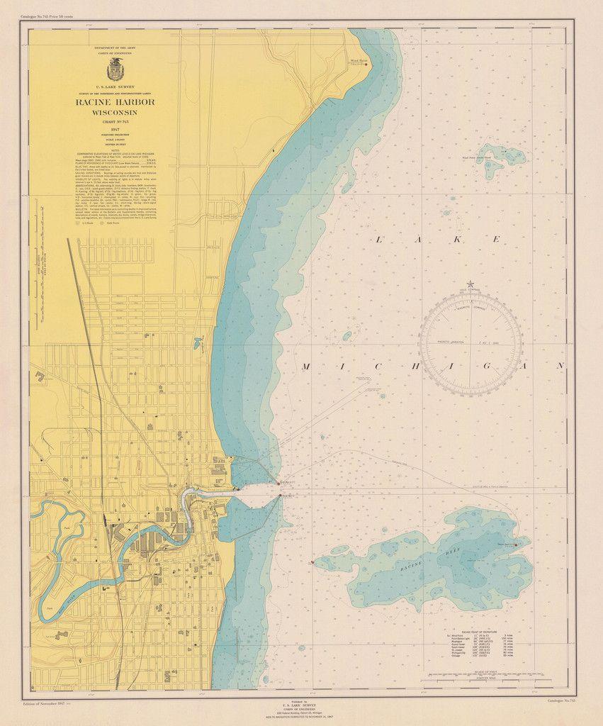 Lake Michigan  Racine Harbor Historical Map  1947  Lake