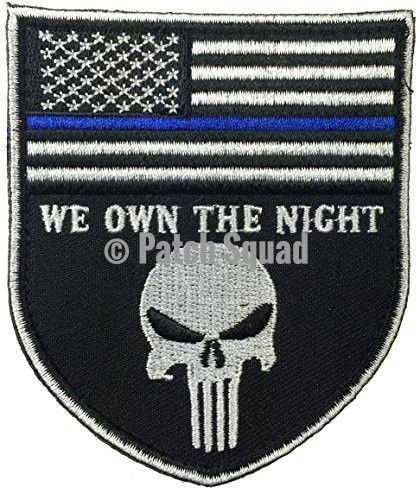 Velcro Black and White Skull Design with Thin Blue Line Police Devgru Tactical Seal Team Punisher American Flag/ We Own The Night Patch - By Patch Squad