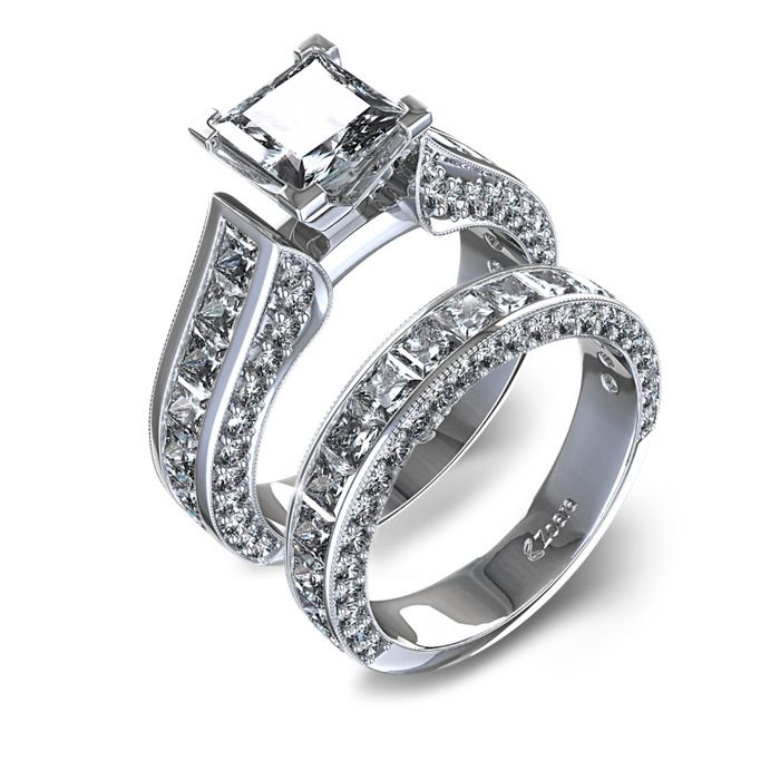 channel set princess cut diamond wedding set in 14k white gold - Princess Cut Diamond Wedding Ring Sets