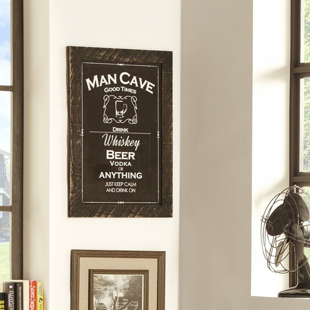 This piece or art is designed with men in mind. It reads 'man cave