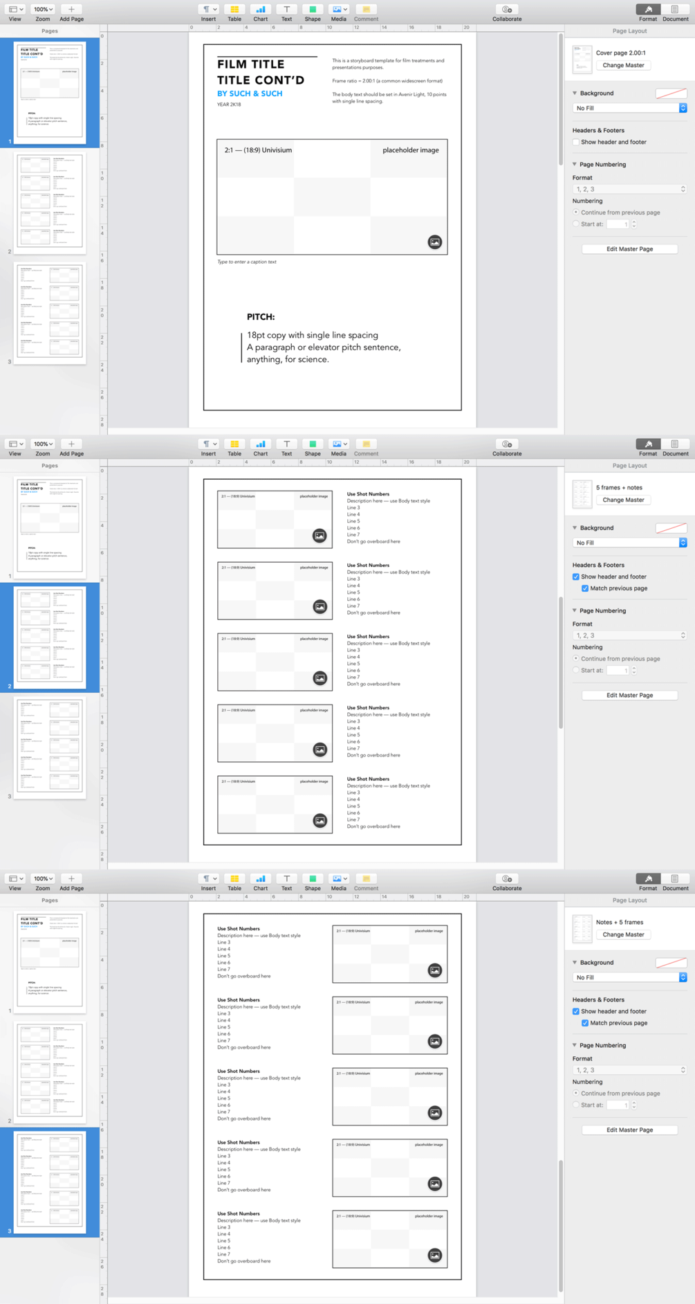 Apple Pages Storyboard Template, 5 frames per sheet for 2