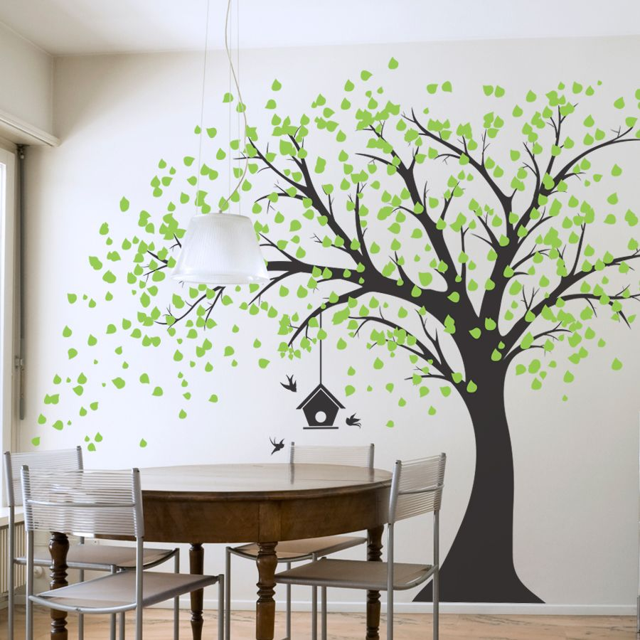 Large Windy Tree with a Hanging Birdhouse Wall Decal  Home decor