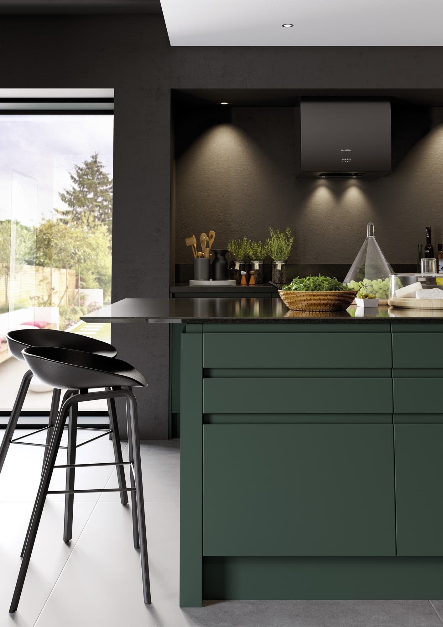 fitted kitchens in birmingham  handleless kitchen green