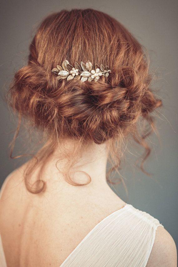 blumen braut haar kà mmen gold floral haar kamm von floraljewellery