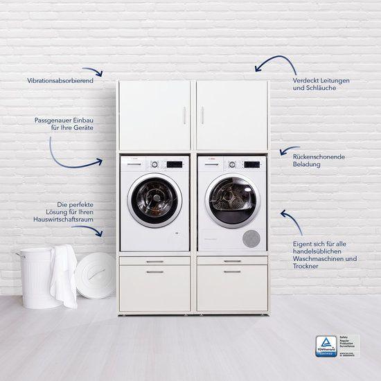 Waschturm Doppelschrank 145x134x65cm Mit Ausziehbrett Wscs1462 Ohne Waschmaschine In 2020 Hauswirtschaftsraum Hauswirtschaftsraum Ideen Waschmaschine