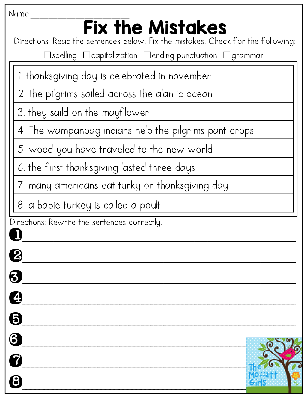 Fix The Mistakes In The Sentences See How Many Mistakes Your Students Can Catch Include Thanksgiving Words Learn English Words Writing Sentences Kindergarten [ 1325 x 1024 Pixel ]