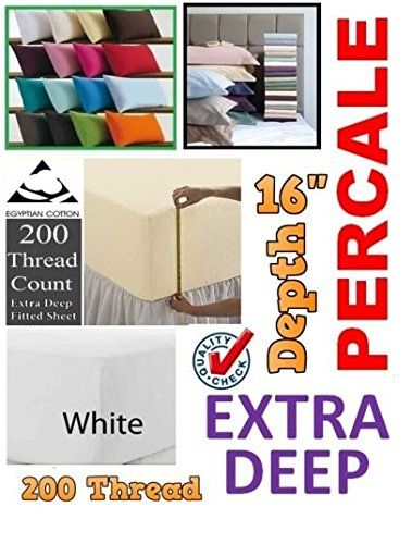 RAYYAN LINENu0027S 100% EGYPTIAN COTTON WHITE 200TC 4 FEET SMALL DOUBLE EXTRA  DEEP FITTED BED