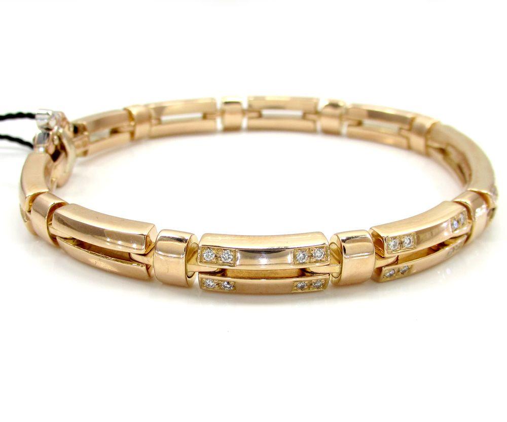 Mens baraka k rose gold solid tube diamond bracelet ct