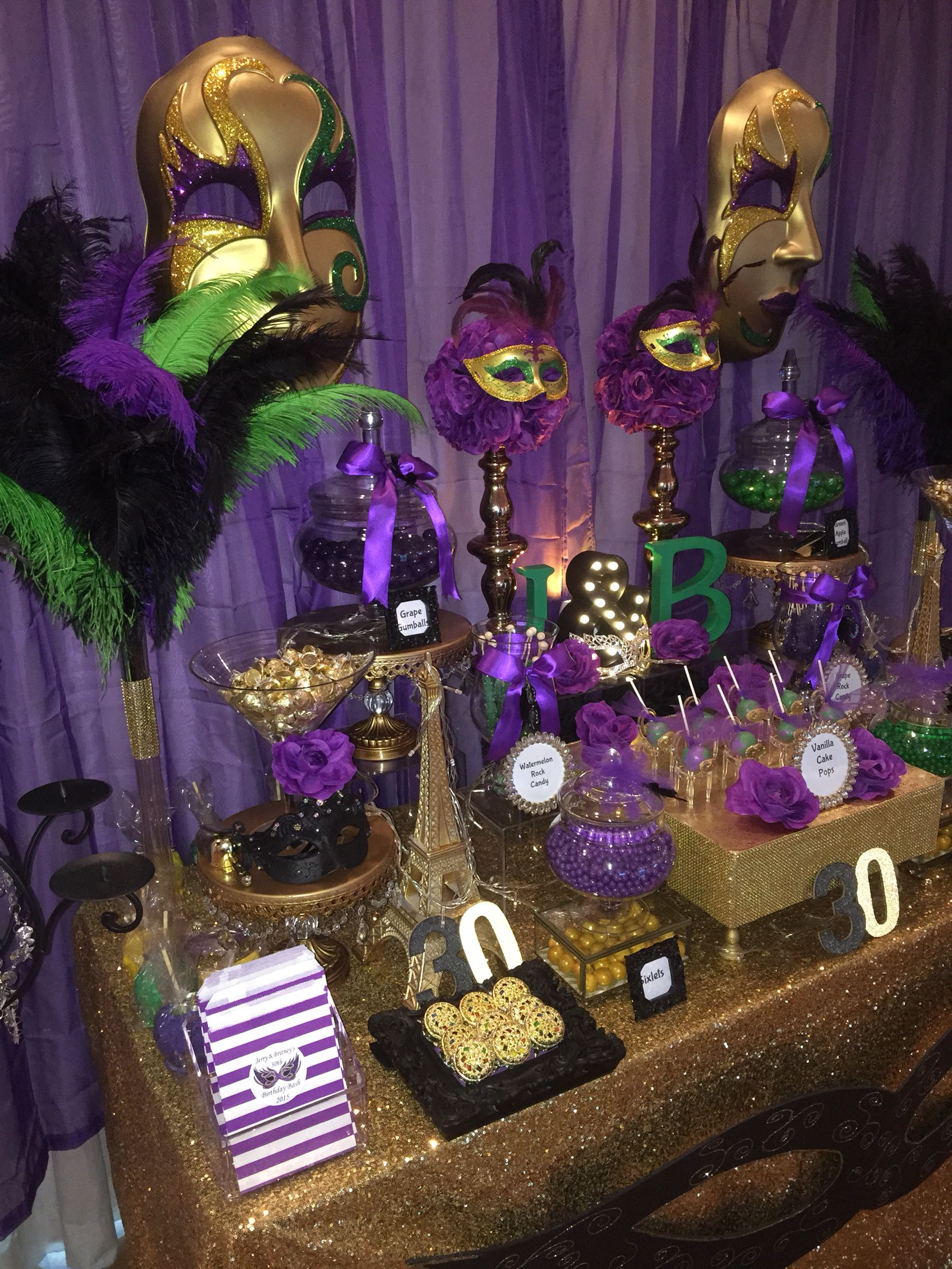 f7981adf Birthday Masquerade Party. Candy Buffet in Purple, Green, Black and ...